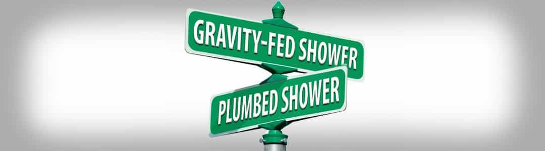 gravity-fed emergency shower signage banner